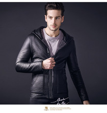 Free Shipping fanzhuan New 2018 fashion casual spring thin hooded fur PU leather men's male Slim motorcycle jacket coat 810012