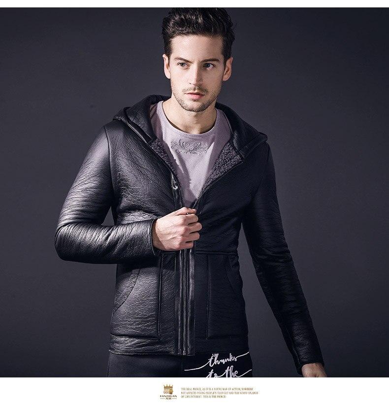 Gratis Verzending fanzhuan Nieuwe 2018 mode toevallige lente dunne hooded bont PU lederen mannen mannelijke Slanke motorjas jas 810012-in Kunstleerjassen van Mannenkleding op  Groep 1