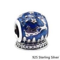 CKK 925 Bijoux En Argent Sterling De Noël Nuit Bleu D'origine Mode Charms Perles Convient Fandola Bracelets