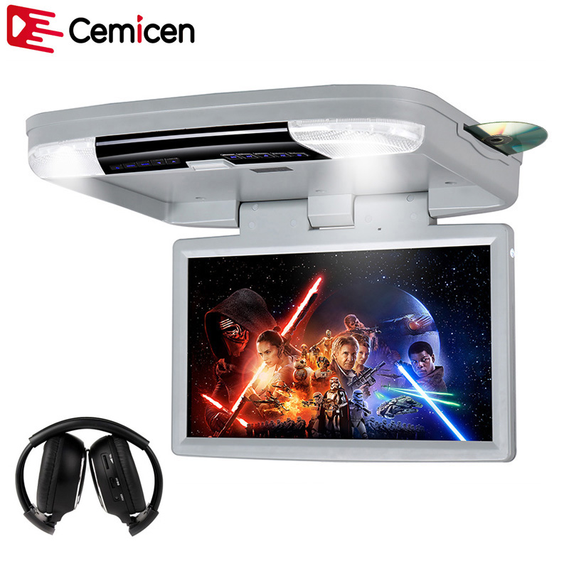 Cemicen 15 6 Inch HD 1080P Video Car Mount Monitor Roof Flip Down DVD Player With