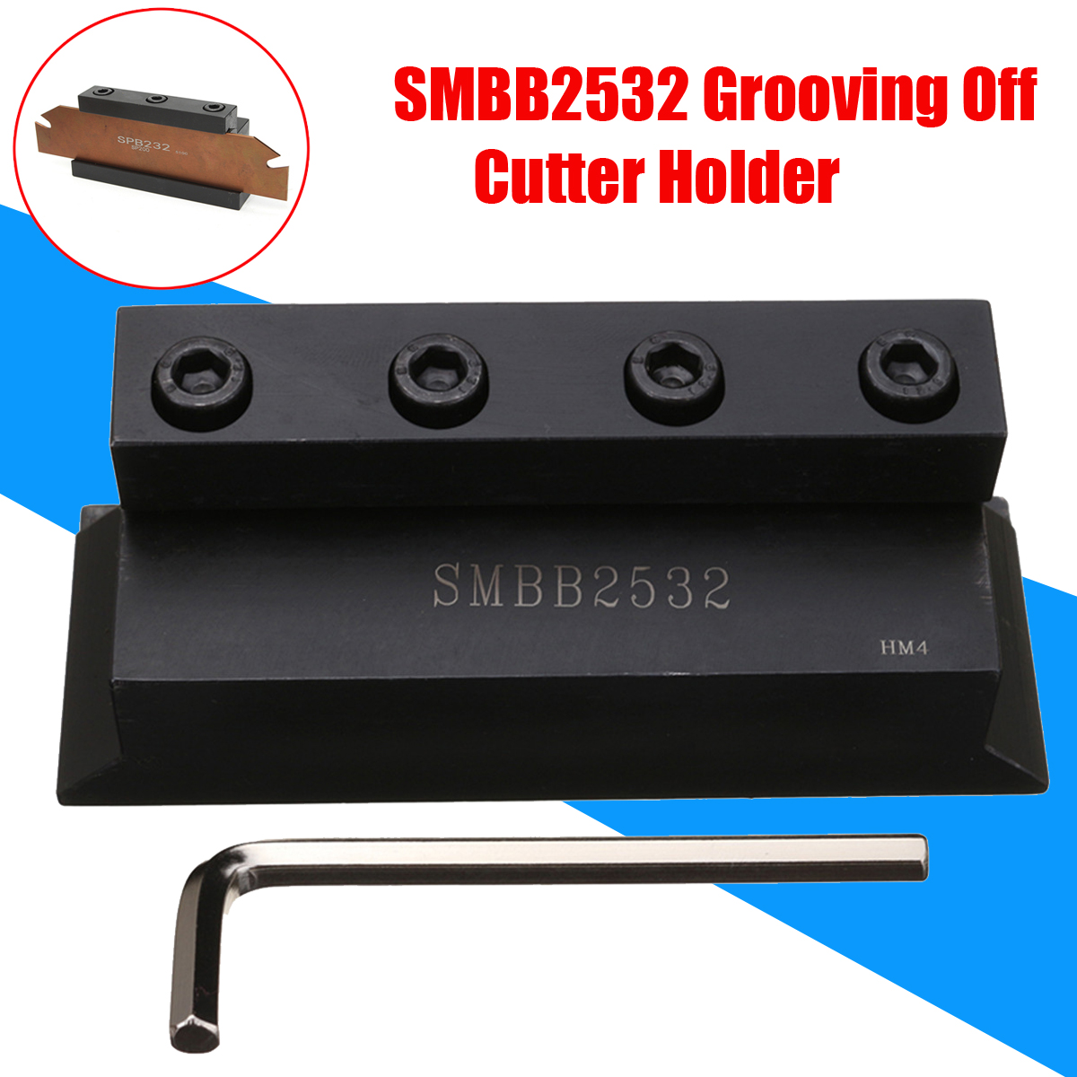 1Pc SMBB2532 Cut-Off Blade Holder 25mm for Lathe Cutting Tool with T Wrench for CNC Milling Cutter Tool free shiping smbb 2526 part off block indexable parting off tool stand holder 25mm high blade 26mm tool post for lathe