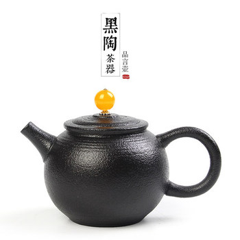 Creative Pottery Teapot Japanese Black Zen Scrub Particle Kung Fu Tea Set Teaware Agate Top Bead Large Single Pot