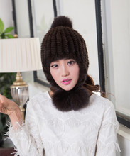 real Fur  mink hats  earmuffs ladies hats winter warm stretch hat