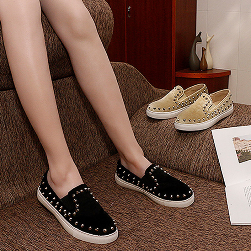 Jookrrix 2018 Spring New Europen Style Fashion Brand Loafers Shoe Women Fur Chic Flats Rivets Shallow Horse Hair Silp On Sneaker