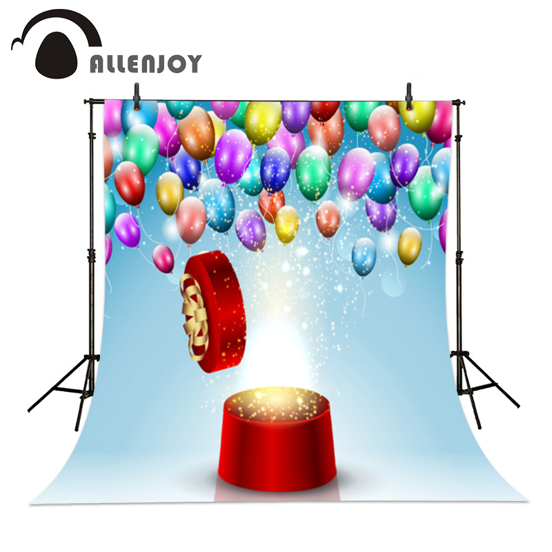 Allenjoy Round Gift Box Balloons photographic background Birthday dream party backdrops photo studio Personal customization party box black