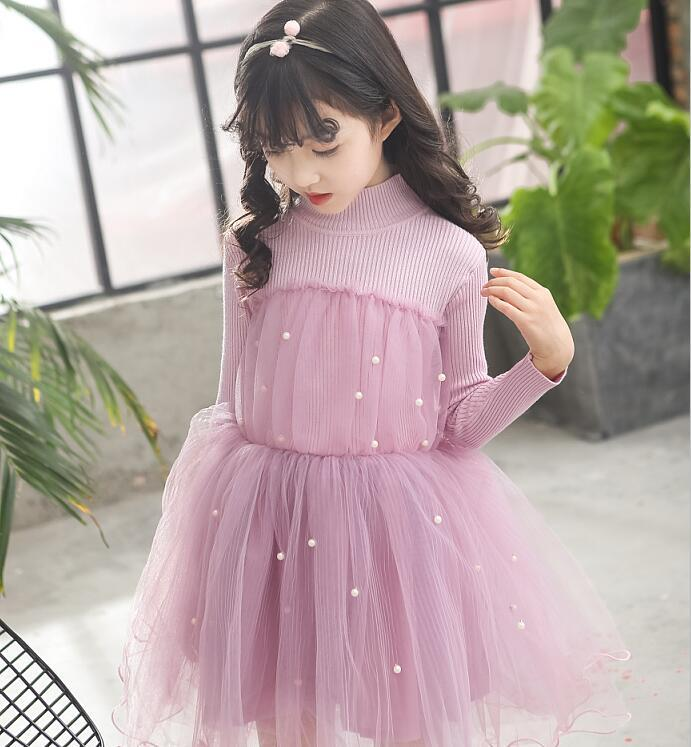 Girls Dress Autumn Winter Long Sleeve Beaded Kids Dresses For Girls Baby Girl Party Evening Dress 2 - 15 Years Children Clothing