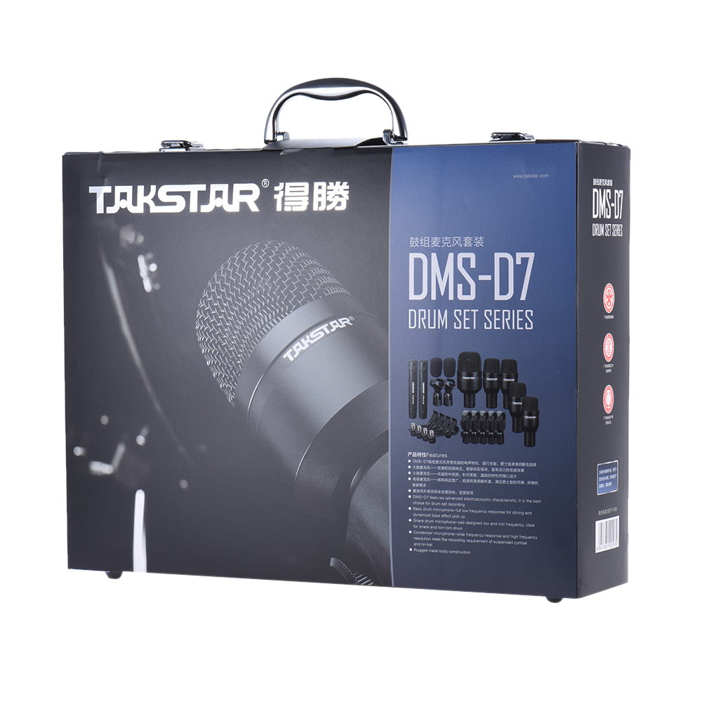 Drum Set Wired Microphone Takstar Drum Set Metal Wired Microphone Mic Kit Professional Musical Instruments DMS
