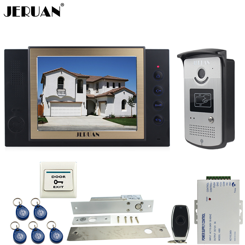JERUAN black 8`` LCD Video Door Phone System 700TVT Camera access Control System+Electric Drop Bolt lock+Remote control+8GB card jeruan luxury 8 lcd video door phone three 700tvt camera access control system magnetic lock remote control 8gb card