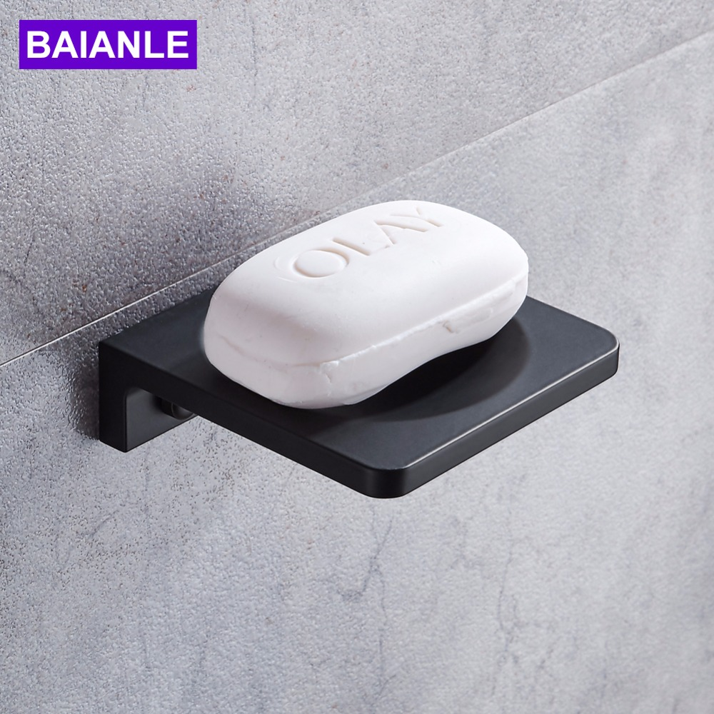 Free shipping modern wall mounted soap dishes space aluminum square bathroom black soap dish for Wall mounted soap dishes for bathrooms