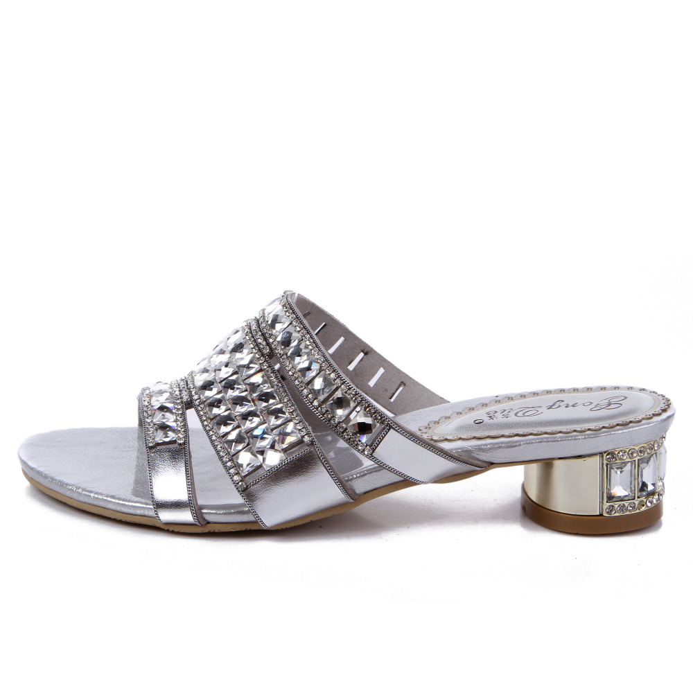 Bajo Estilo 2018 Sexy Tamaño Las Verano Tacones Zapatos Toboganes Altos Punta Zapatillas Mujer Abierta Más Mujeres Del Diamante q8q0xrZS