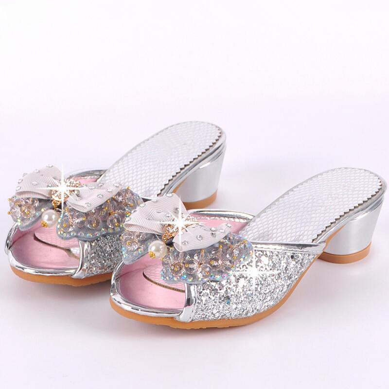 8f9e16c937 Children High Heels Shoes Girls Cool Slippers Fashion Sequins Crystal  Princess Sandals 2017 Summer New Beaded Bowtie Slippers