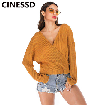 цена на CINESSD V Neck Knitted Sweaters Solid Long Sleeves Backless Loose Casual Women Tops Burgundy Thin Pullovers Tee Shirts Sweaters