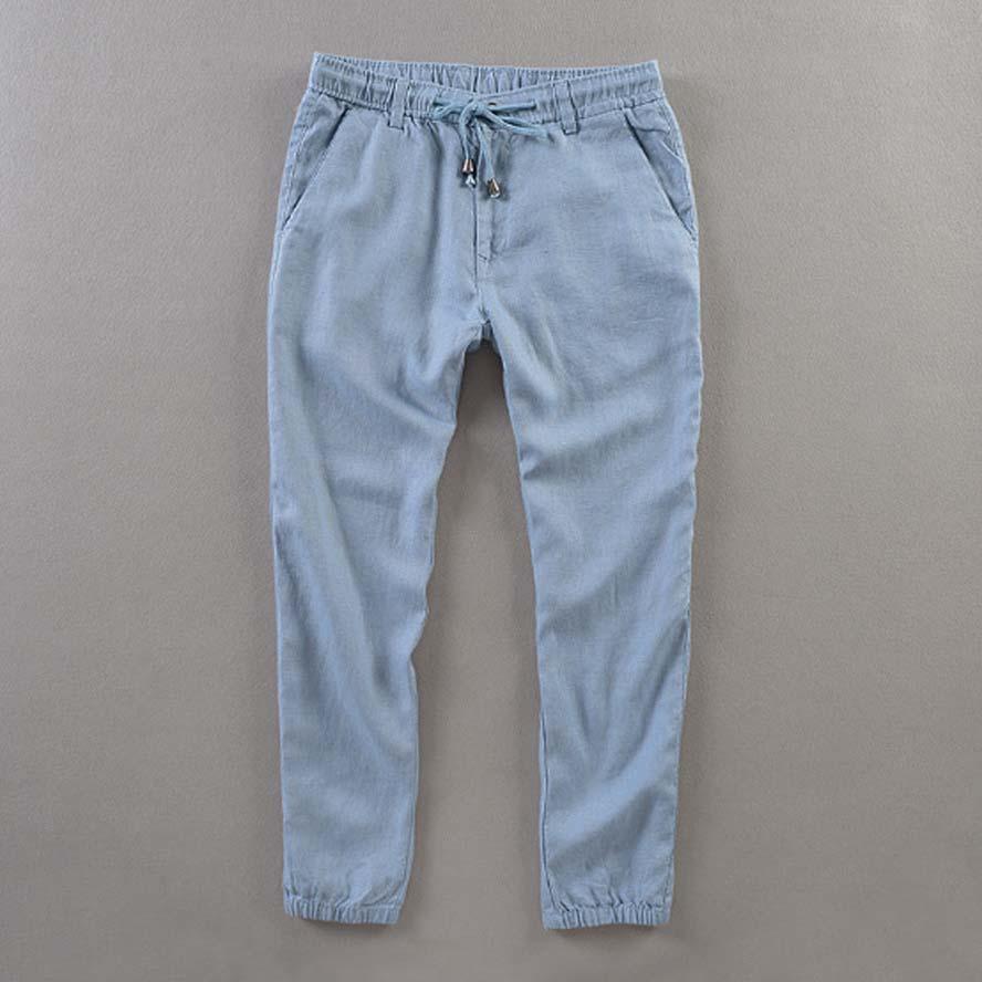 Men's Summer Casual Pants Natural 100%Linen Trousers White Linen Elastic Waist Straight Joggers Pants