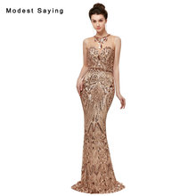 Luxury Blush Pink Sexy Sheer Mermaid Sequined Lace Evening Dresses 2018 Illusion Neck Party Prom Gowns vestido de festa longo