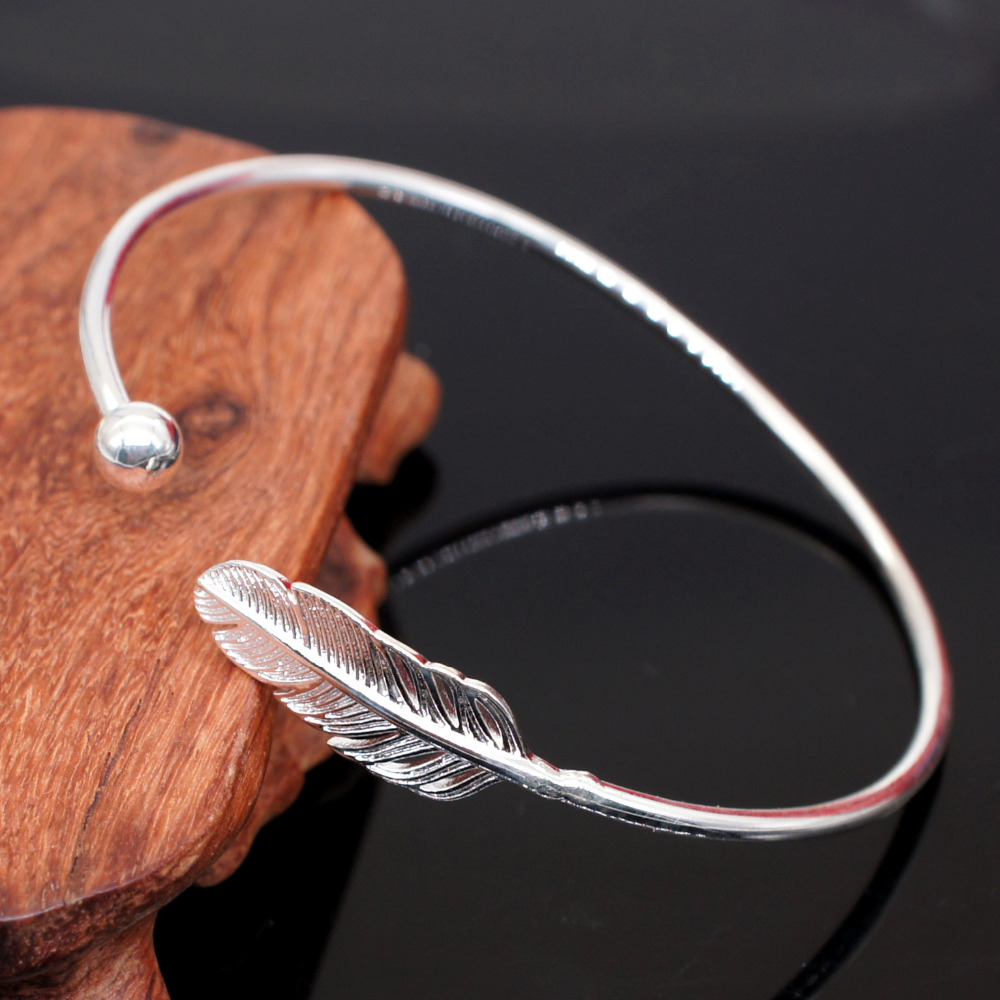 wholesale fashion jewelry elegant feather bracelet silver & bangle for women party gifts girls