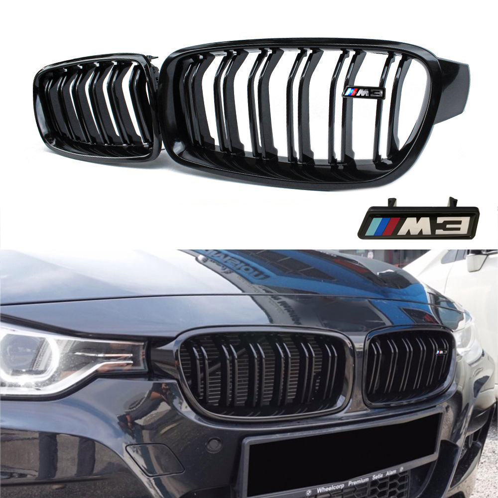 Gloss Black For BMW F30 F31 2012-2015 3 Series 320i 325i 328i 335i Twin FIns Front Kindey Bumper Grille With M3 Emblem