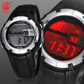 OHSEN Mens Boys Alarm Day Stopwatch Digital Sport Watch Waterproof Black Rubber Strap Wristwatch 7 Colors LED BackLight Watches