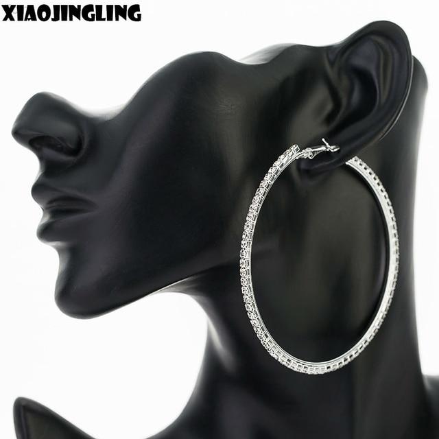 Xiaojingling Full Crystal Rhinestone 7cm Diameter Large Round Hoop Earrings Bridal Wedding Earring Jewelry Whole For