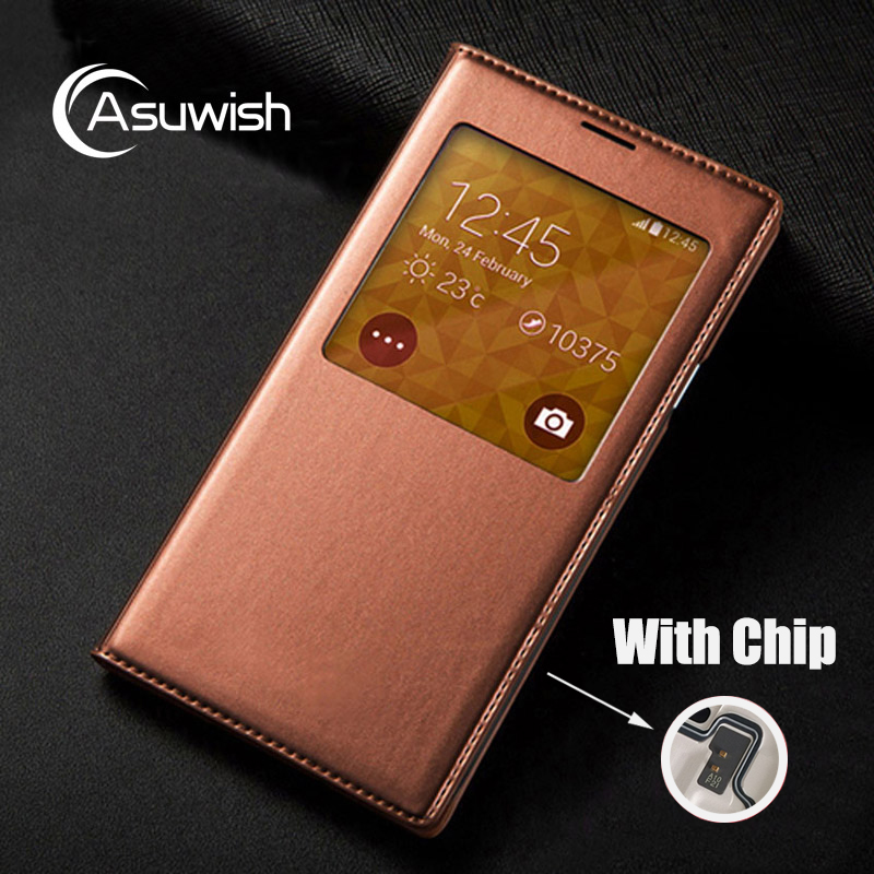 chip case - Flip Cover Leather Case For Samsung Galaxy S5 S 5 Galaxys5 Samsungs5 SM G900 G900F G900FD SM-G900F SM-G900 Smart View Phone Case