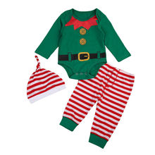 df394cd5007a5 2018 Xmas Toddler Baby Boys Girls Top Green Romper Red Striped Pants  Leggings Outfits Clothes Christmas