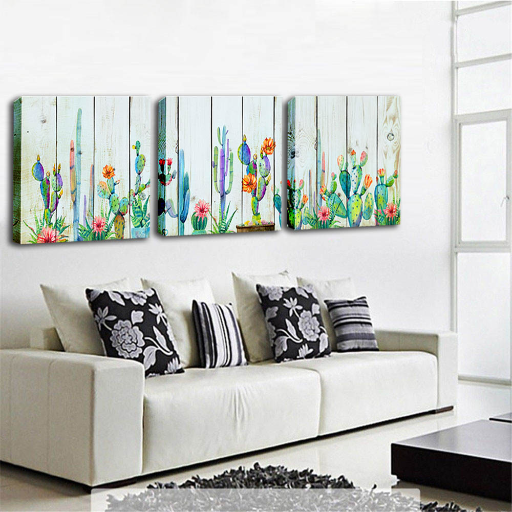 Watercolor Pictures Desert Green Plant Cactus Wood Grain Flower Painting 3 Pieces Modern Framed Canvas Prints Art for Home Decor