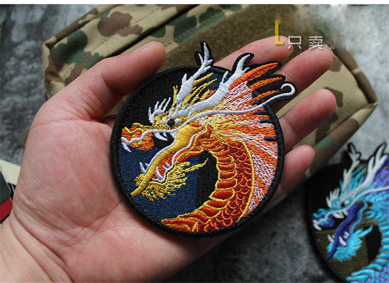 มังกรจีนสติกเกอร์เมจิกแขนเย็บปักถักร้อย Patch Patch คอสเพลย์ Patch ฮาโลวีนคอสเพลย์ Patch คริสต์มาสของขวัญ
