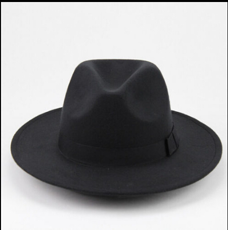 Hippie Unisex Men Black Jazz Wool Trilby Bowler Fedora Panama Hat Gentlemen  Ladies Cap Hats 7eaf5c833c76