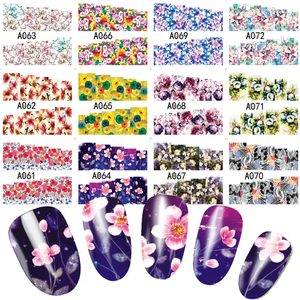 Image 4 - 48pcs Hot Water Transfer Designed Nail Sticker Blossom Flower Colorful Full Tips Stamp Decals Nail Art Beauty A049 096SET