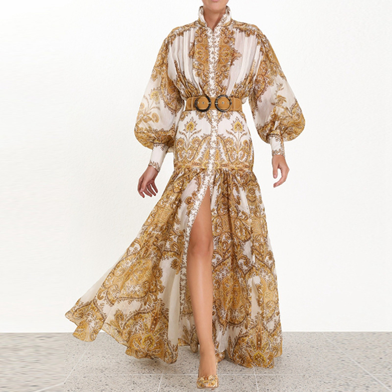 Banulin 2019 Runway Designer Woman Maxi Dress High Waist Puff Sleeve Sashes Gold Floral Print Single Breasted Split Long Dress