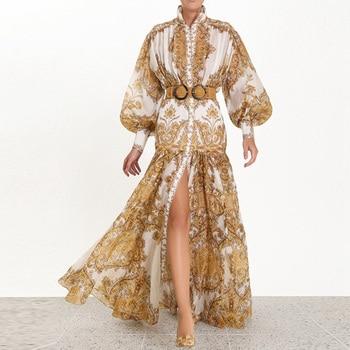 цена на Banulin 2019 Runway Designer Woman Maxi Dress High Waist Puff Sleeve Sashes Gold Floral Print Single Breasted Split Long Dress