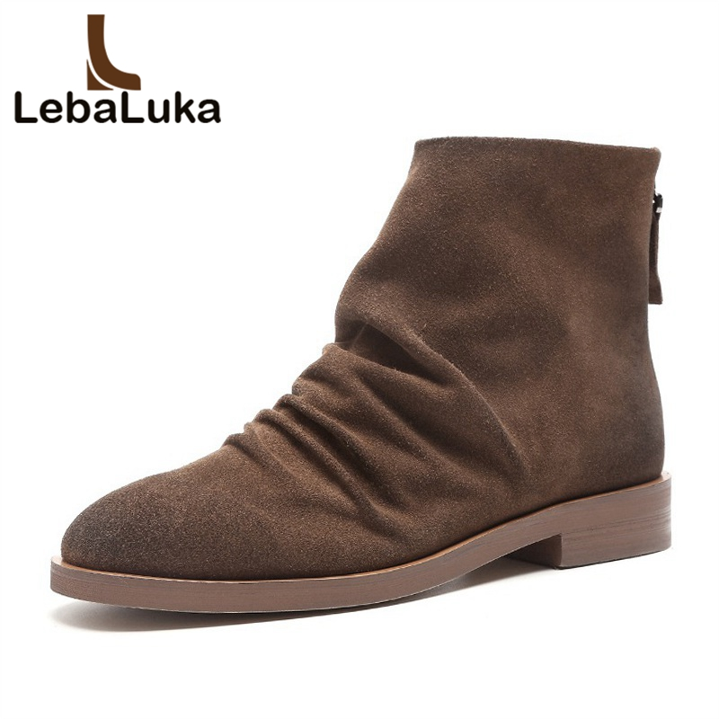 LebaLuka Women Ankle Boots Genuine Leather Autumn Winter Shoes Women Flats Boots Fashion Zipper Round Toe Footwear Size 33-40LebaLuka Women Ankle Boots Genuine Leather Autumn Winter Shoes Women Flats Boots Fashion Zipper Round Toe Footwear Size 33-40