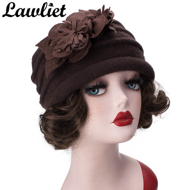 Lawliet Women Hats Pure Wool Winter Cap Two Felted Flowers Lady Beanies  Knitted Cloche Hat Church acb83307c2d