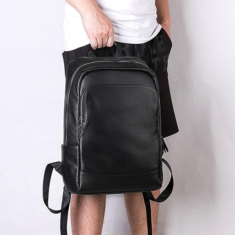 Sac à dos hommes mode en cuir véritable cahier sacs à dos sacs de voyage Style Preppy collège adolescent sac d'école sac pour ordinateur portable