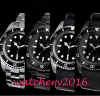 Novo clássico do vintage 42mm parnis preto estéril dial marcas luminosas data nenhum logotipo marca de luxo movimento automático relógio masculino