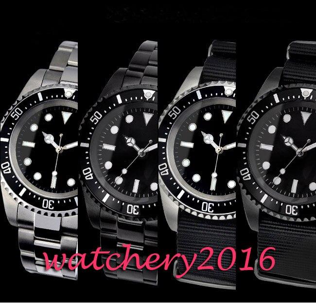 Saatler'ten Mekanik Saatler'de Yeni Klasik vintage 42mm Parnis Siyah Steril Kadran Aydınlık işaretleri Tarihi no logo Lüks Marka Otomatik Hareketi erkek saati'da  Grup 1