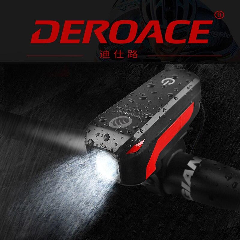 deroace bicycle light with speaker usb charging warning waterproof flashlight 350 lumens 140 db. Black Bedroom Furniture Sets. Home Design Ideas