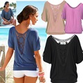 AS20 Marca de Moda Manga Curta Sexy Rendas de Croché T-Shirt Frouxo Casual Womens Tops T-shirt Femme Camisetas Mujer 5XL