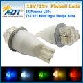 Super Branco 100 pcs T15 921 #906 lager Cunha sem fantasmas AC 12 V/13 V Várias cores 5 * LEDs Piranha Flasher Máquina de Pinball lâmpadas