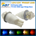 Super White 100pcs T15 921 #906 lager Wedge no ghosting AC 12V/13V Various colors 5* Piranha LEDs Flasher Pinball Machine Bulbs