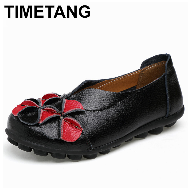 TIMETANG New Women Real Leather Flowers Shoes Mother Loafers Soft Leisure Flats Female Driving Casual Footwear Solid Boat C278 2017 new leather women flats moccasins loafers wild driving women casual shoes leisure concise flat in 7 colors footwear 918w
