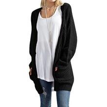 LOGAMI Long Cardigan Women Long Sleeve Knitted Sweater