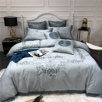 60S egyptian cotton Bedding Set flowers embroidery king queen size Linens Duvet Covers Pillowcases soft Bed Covers