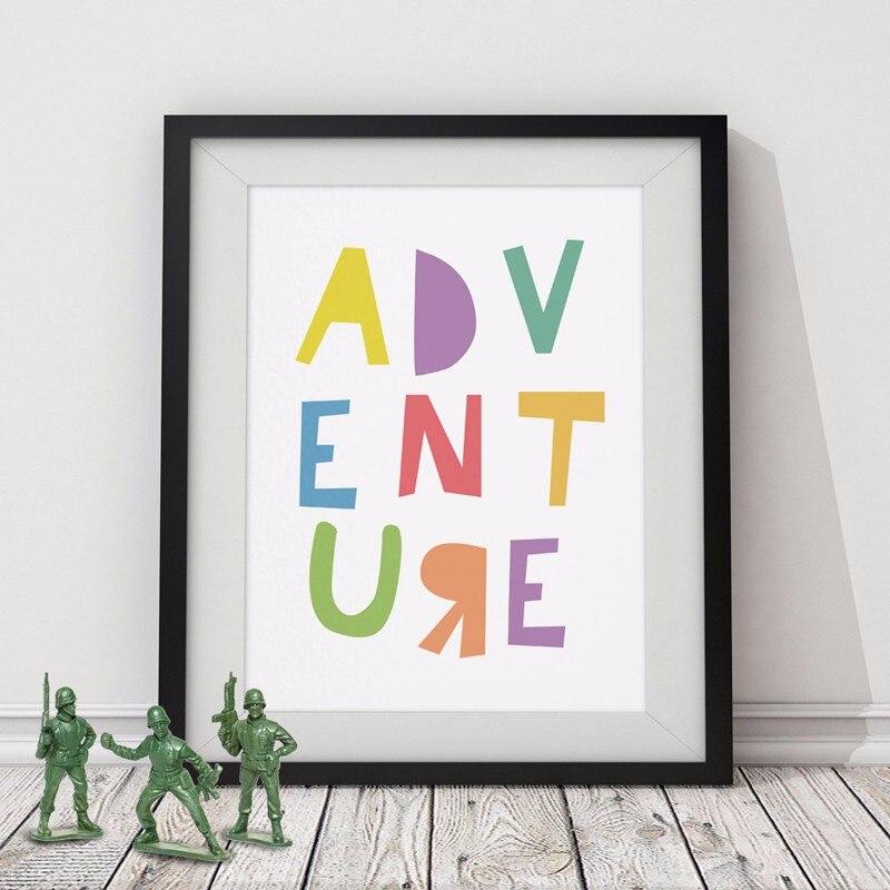 Typografie Poster AVONTUUR Motiverende Citaat Olieverfschilderijen - Huisdecoratie