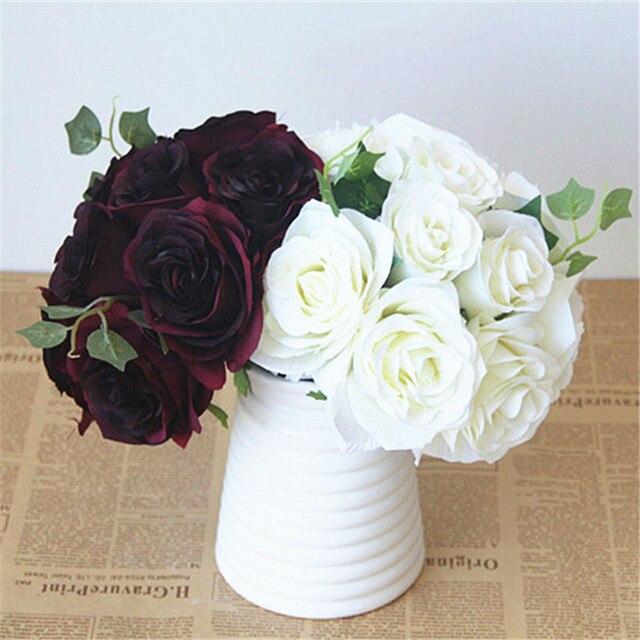 Burgundy Flower Bouquet Silk Rose Flower Dark Red Bouquet Burgundy