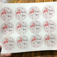 120pcs/lot Kawaii Stickers Flamingo Thank you Round Seal Sticker DIY Envelope Diary Handmade Gift Decoartion Label