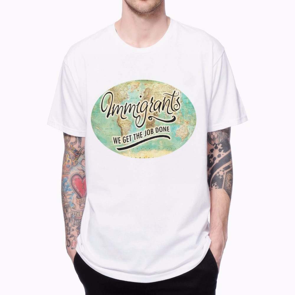 T shirt design job - Immigrants We Get The Job Done Hamilton 1704207 Crewneck Europe Plus Size Male Tee 3d Design Print Short Sleeve Men S T Shirt