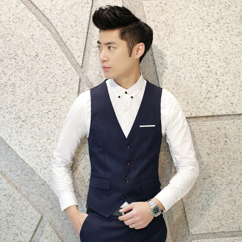 7 Colors Men Suit Vest Classic V Collar Dress Slim Fit Wedding Waistcoat Blue Grey Navy Mens Formal Apparel Blazer Vests S-3XL