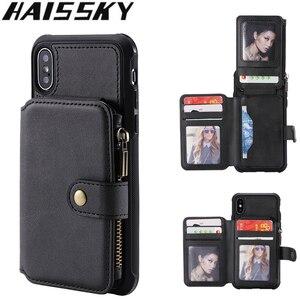 Image 1 - Caso do telefone da carteira do zíper para o iphone 11 pro max x xr 6s 8 7 mais caso de couro da aleta para o iphone xs max se 2020 silicone macio