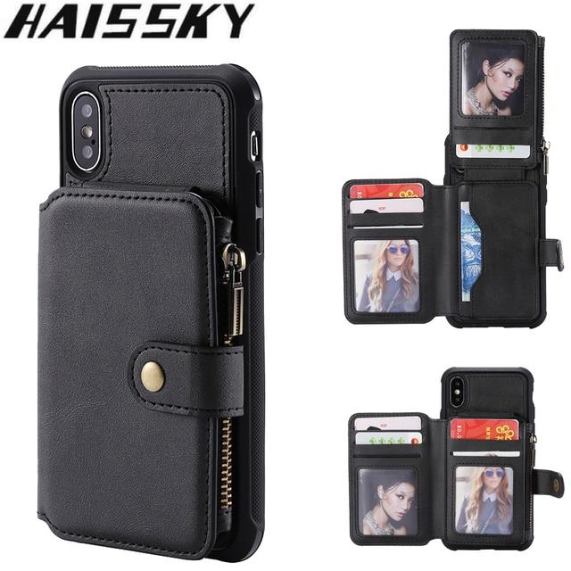 Caso do telefone da carteira do zíper para o iphone 11 pro max x xr 6s 8 7 mais caso de couro da aleta para o iphone xs max se 2020 silicone macio