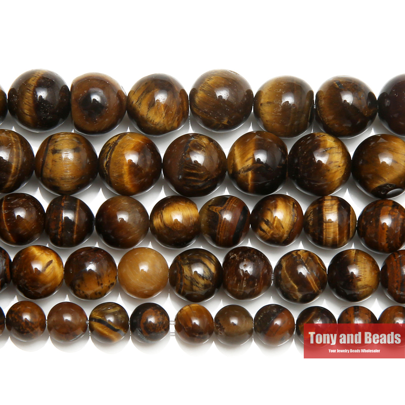"Free Shipping Natural Stone Brown Gold Tiger Eye Agates Round Beads 15"" Strand 2 3 4 6 8 10 12 14MM Pick Size For Jewelry SAB9(China)"